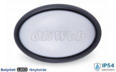 Dome Light 12W LED természetesfehér kerek mennyezeti lámpa IP66, fekete