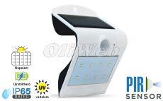 Fali napelemes LED lámpa 1,5W PIR + akku, fehér IP64