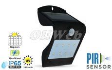 Fali napelemes LED lámpa 1,5W PIR + akku, fekete IP64