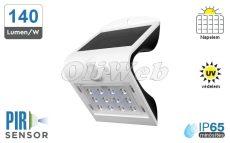 Fali napelemes LED lámpa 1,5W PIR + akku IP65, fehér