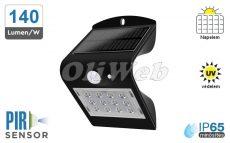 Fali napelemes LED lámpa 1,5W PIR + akku IP65, fekete