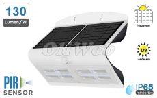 Fali napelemes LED lámpa 7W PIR + akku IP65, fehér