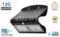 Fali napelemes LED lámpa 7W PIR + akku IP65, fekete
